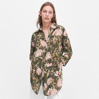 Reserved - Koszula w kwiaty - Czarny
