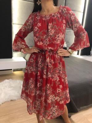 Czerwona Sukienka Hiszpanka w Kwiaty 3867-311-C