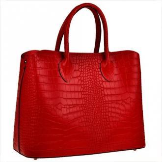 Skórzana torebka kuferek czerwona z kosmetyczką vezze wzór