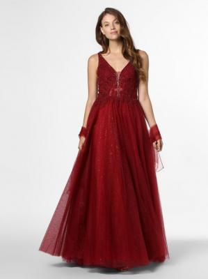 Mascara - Damska sukienka wieczorowa z etolą, czerwony