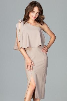 Koktajlowa ołówkowa sukienka na jedno ramię z falbaną