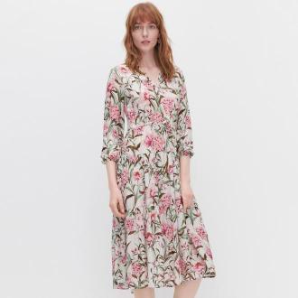 Reserved - Sukienka w kwiaty - Kremowy