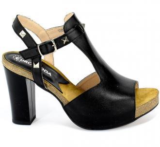 Sandały Euro Moda Lib 9280 8 Czarny Skóra