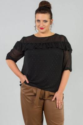 Bluzka elegancka szyfonowa z falbanką CARMEN czarna w kropki