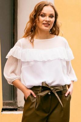 Bluzka elegancka szyfonowa z falbanką CARMEN biała w kropki