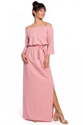 Różowa Dzianinowa Długa Sukienka z Szerokim Dekoltem