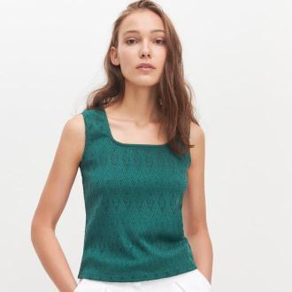 Reserved - Bluzka z kwadratowym dekoltem - Khaki