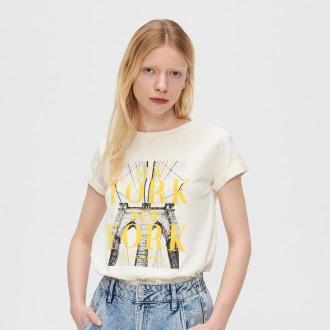 Cropp - Koszulka z nadrukiem - Kremowy