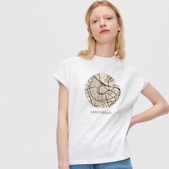 Cropp - Koszulka z nadrukiem - Biały