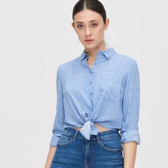 Cropp - Koszula z wiązaniem - Niebieski