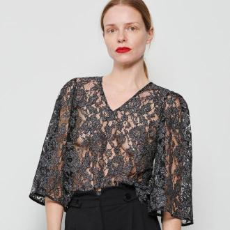 Reserved - Koronkowa bluzka - Czarny
