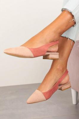 Różowe baleriny z odkrytą piętą