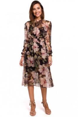 Czarna Szyfonowa Sukienka w Kwiaty z Długim Rękawem