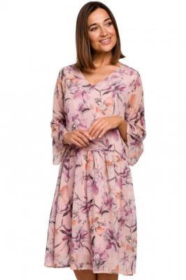 Ekskluzywna szyfonowa sukienka w kwiaty