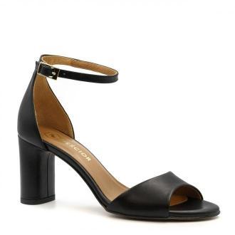 Czarne skórzane sandały na owalnym słupku 209L