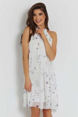 Biała Luźna Sukienka Szyfonowa na Stójce