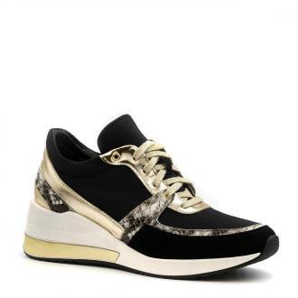 Sportowe czarne sneakersy typu chunky ze złotą wstawką w podeszwie 278B