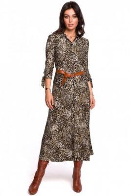 Koszulowa sukienka o długości 7/8 w panterkę