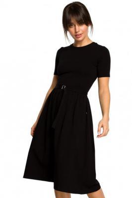 Bawełniana rozkloszowana sukienka midi z paskiem