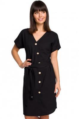 Koszulowa sukienka szmizjerka na lato z dodatkiem lnu