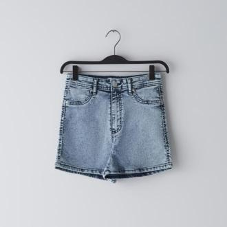 Cropp - Jeansowe szorty high waist - Niebieski