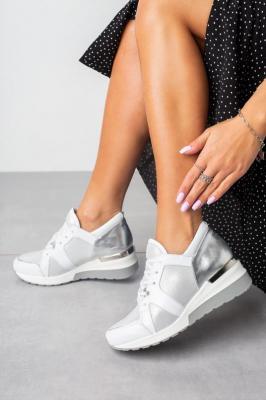 Białe sneakersy Kati buty sportowe sznurowane 7023