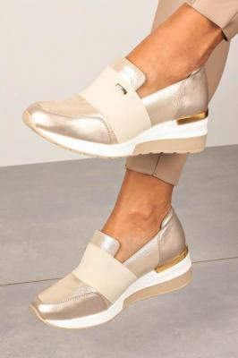 Beżowe sneakersy Kati skórzane półbuty na koturnie z gumką 7020