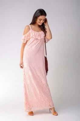 Jasnoróżowa Koronkowa Sukienka Maxi Inspirowana Hiszpańskim Stylem