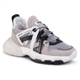 Sneakersy BRONX - 66285-BM  Light Grey/White/Black 3106