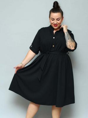 Sukienka szmizjerka rozkloszowana xxl MARZANNA len czarna