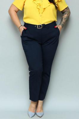 Spodnie chinosy RENATA eleganckie pasek z klamerką granatowe