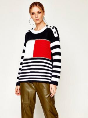 Tommy Hilfiger Sweter ICONS Kenya WW0WW28028 Granatowy Relaxed Fit
