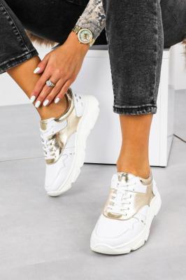 Białe sneakersy Kati buty sportowe sznurowane 7038
