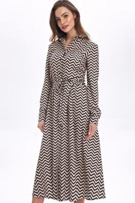 Ekskluzywna koszulowa sukienka szmizjerka midi - Wielokolorowy