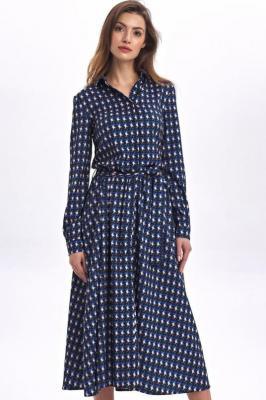 Ekskluzywna koszulowa sukienka szmizjerka midi - Niebieski