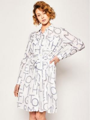 Tommy Hilfiger Sukienka koszulowa Leila WW0WW27806 Biały Regular Fit