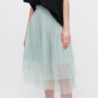 Reserved - Plisowana spódnica - Zielony