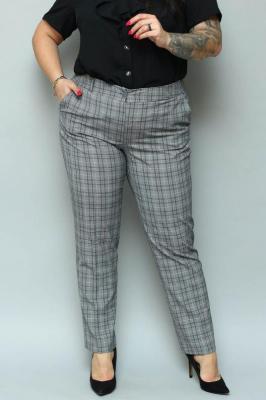 Spodnie eleganckie rurki ANNA szara kratka PROMOCJA
