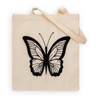 Torba bawełniana płócienna eko motyle beżowa