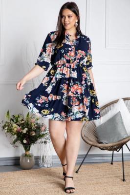 Sukienka rozkloszowana falbanki letnia XXL ALEKSANDRA granatowa w róże PROMOCJA