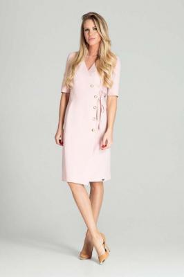 Kopertowa Sukienka z Krótkim Rękawem - Różowa