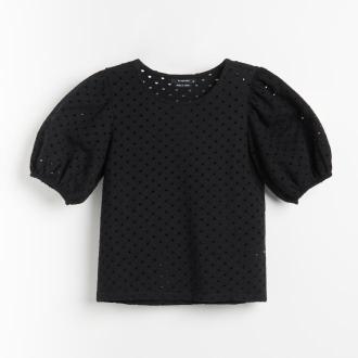 Reserved - Bluzka z bufiastymi rękawami - Czarny