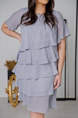 Niebieska Sukienka ORINA Plus Size w groszki