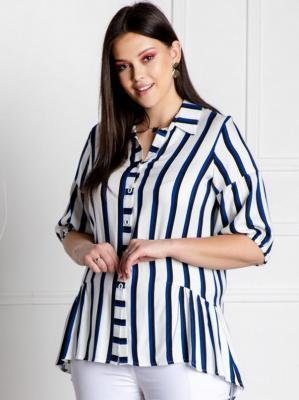Koszula tunika BRYGIDA ozdobna falbanka biała w niebiesko-czarne paski
