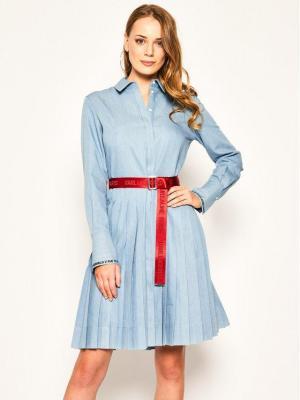 KARL LAGERFELD Sukienka koszulowa Logo Belt 201W1305 Niebieski Regular Fit