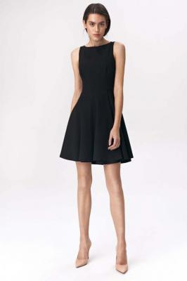 Czarna Elegancka Rozkloszowana Sukienka bez Rękawów