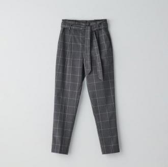 Cropp - Spodnie paperbag z paskiem - Szary