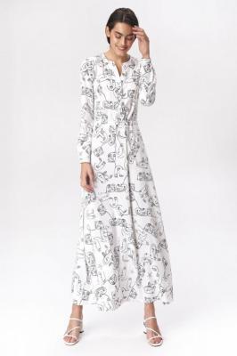 Lekko rozkloszowana sukienka szmizjerka maxi - Biały