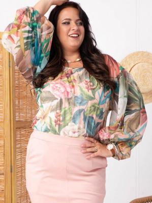 Bluzka elegancka szyfonowa szerokie rękawy LIDIA puder róż w tropikalne kwiaty