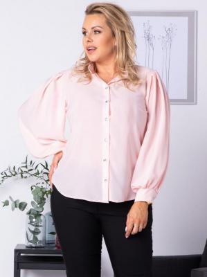 Bluzka elegancka FIORA szerokie rękawy puder róż